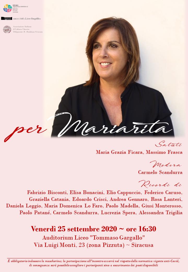 A un anno dalla sua scomparsa, a Siracusa un pomeriggio in memoria di Mariarita Sgarlata