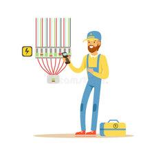 elettricista-che-collauda-materiale-elettrico-misurante-l-uscita-di-tensione-uomo-elettrico-che-esegue-vettore-degli-impianti-95510813